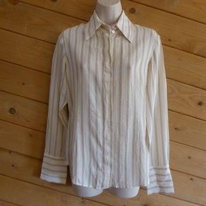 Anne Klein Cream Stripe Button Silk Blouse Shirt S